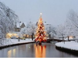 100. Bourton-on-the-Water's Christmas tree in the River Windrush
