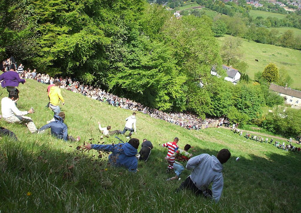 The annual cheese-rolling event at Cooper's Hill takes the biscuit for the wackiest event in the Cotswolds..