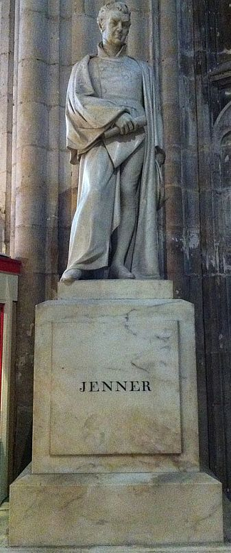 The statue of Edward Jenner in Gloucester Cathedral.