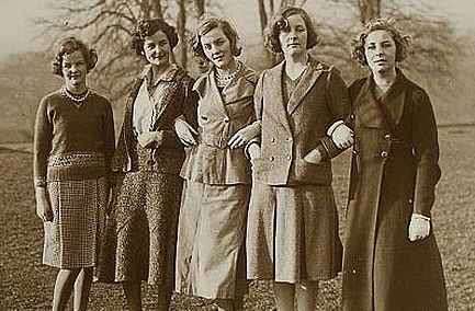The five eldest Mitford sisters pictured in 1935: Jessica, Nancy, Diana, Unity and Pamela.