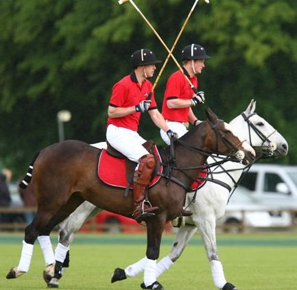 The Royal princes William and Harry in action at Cirencester Park Polo Club.