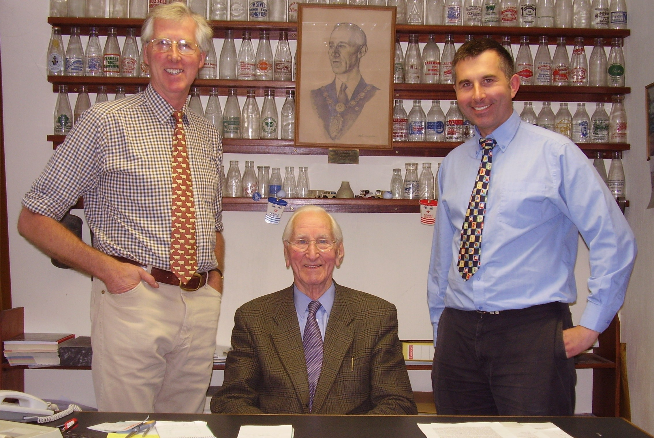 Three generations of Workmans: Harry (centre), Roger (left) and George.