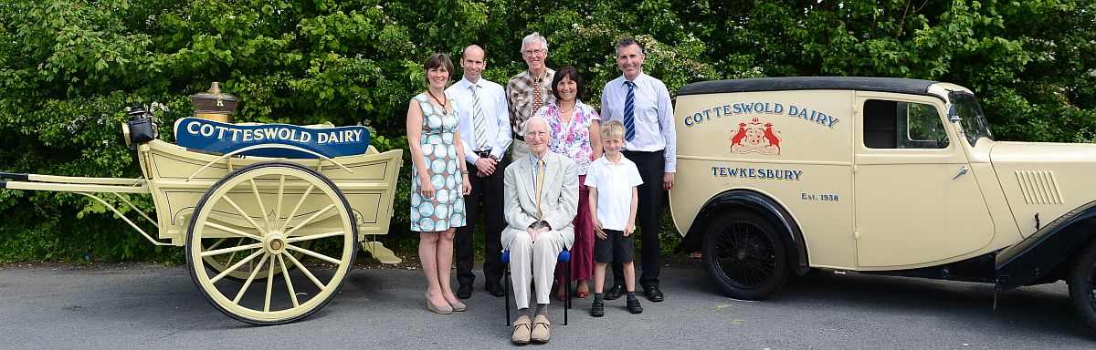 Cotteswold Dairy founder Harry Workman (sitting) with, from left to right, his granddaughter Louise Woodward, Tom Wood, Roger Workman, Gill Workman, George Workman and, front, Harry's great-grandson William Workman.