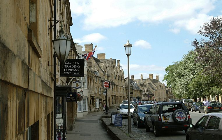 Chipping Campden's High Street has changed little over the centuries (apart from the modes of transport), making it the perfect place to film an adaptation of Chaucher's Canterbury Tales in 1971. Picture © Cotswolds Conservation Board