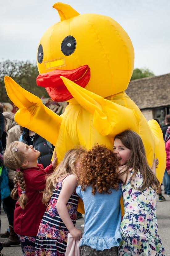Bob the mascot attracted plenty of young fans at the Lechlade Duck Race. Picture © Mouse About Town