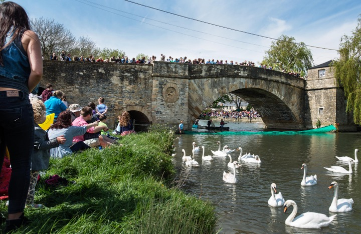 The scene at Lechlade-on-Thames in 2014 as crowds gathered for the inaugural Lechlade Duck Race. Picture Crown Copyright.
