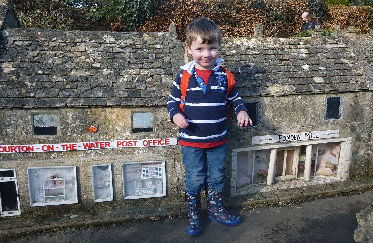 This young visitor to Bourton-on-the-Water was only three years old but he towered over the buildings in the Model Village.