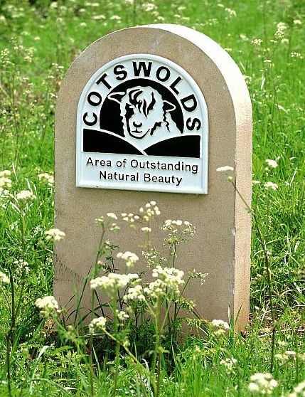 One of special Cotswolds AONB markers dotted around the area.