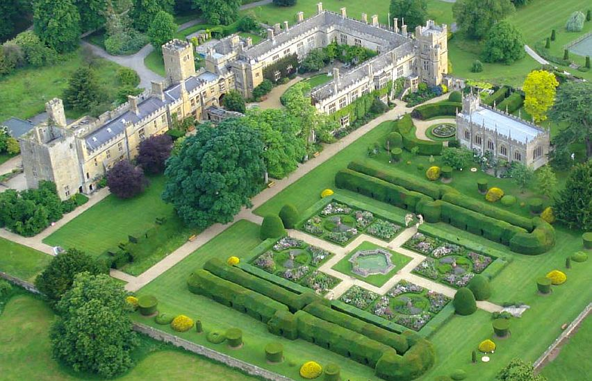 An aerial view of the magnificent Sudeley Castle, just outside Winchcombe.