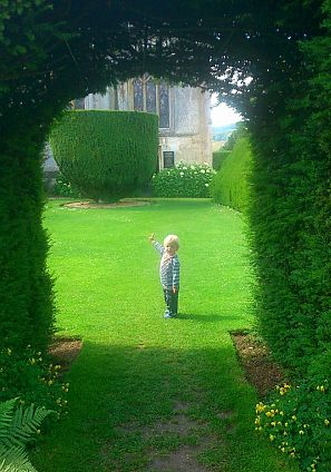Master of all he surveys: Two-year-old Charlie enjoying a summertime visit to Sudeley.
