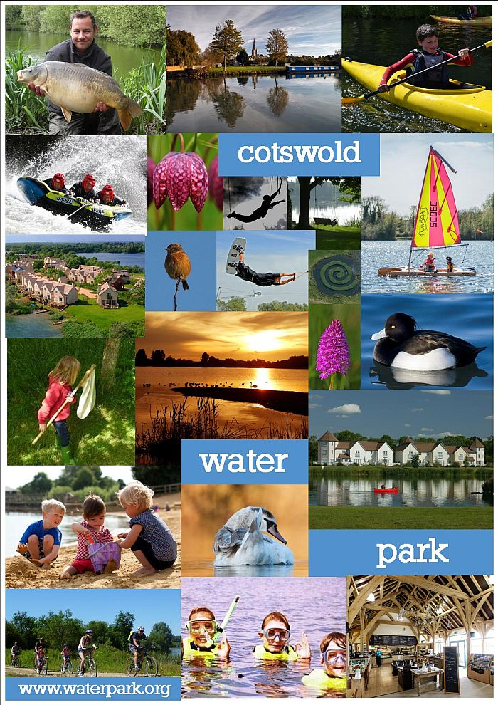 This photographic montage shows just some of the activities that are available at the Cotswold Water Park. Image courtesy Jill Bewley, Cotswold Water Park Trust.
