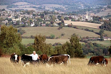 A farmer with his cattle high on the Cotswolds. Picture courtesy Cotswolds Conservation Board.