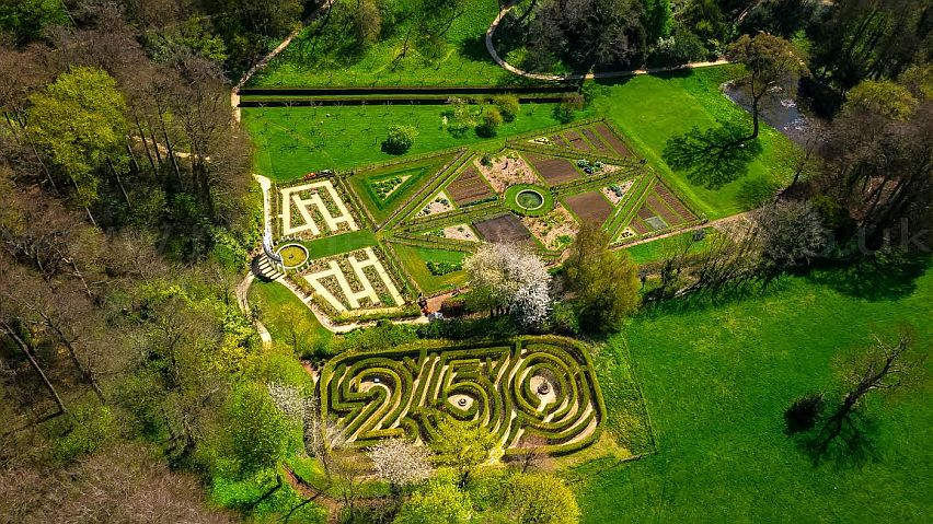 An aerial view of Painswick Rococo Garden. Picture by Rogue State Media. www.roguestatemedia.co.uk