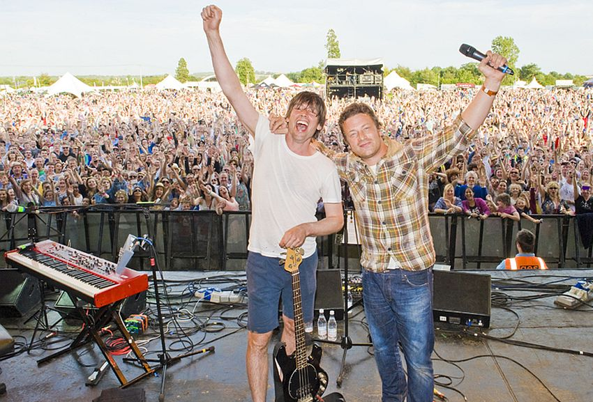 Alex James (left) and Jamie Oliver, the men behind The Big Feastival, with just a few of their fans in the background.