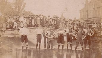 This splendid photograph of Bourton-on-the-Water's traditional river football match dates back to the 1920s.