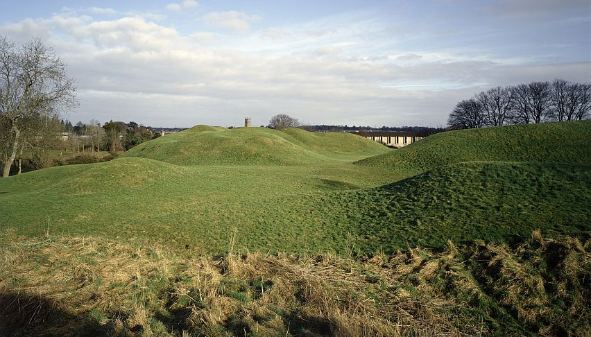 The massive banks of Cirencester Roman Amphitheatre are all that can be seen today. Picture courtesy of English Heritage.
