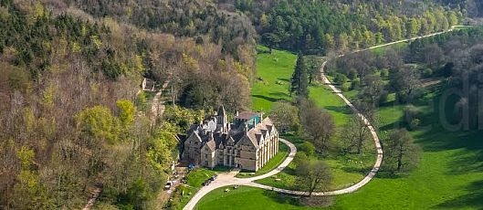 An aerial view of Woodchester Mansion and the surrounding countryside. Picture by Rogue State Media.  www.roguestatemedia.co.uk