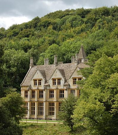 The mansion is hidden in a secluded Cotswold valley.