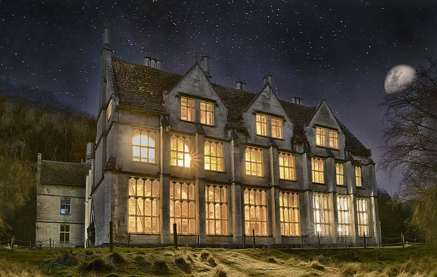 Woodchester Mansion at night. The Gothic house is a popular haunt for ghost hunters.