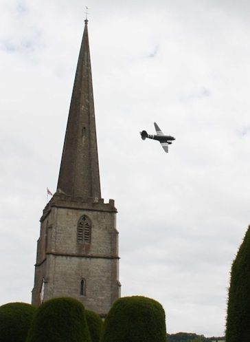 A flypast over St Mary's Church during ACP.