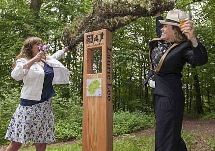 Laurie Lee's daughter Jessy Lee and Cerys Matthews unveiling the poetry trail as part of the new Laurie Lee Wildlife Way in June 2014. Picture by Nick Turner.