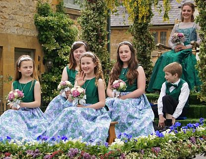 The Scuttlebrook Wake Queen and her attendants parade in Chipping Campden. Picture © Julia Lindop