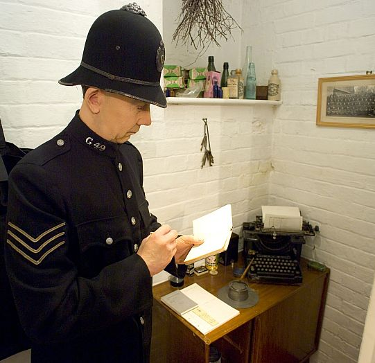 A Gloucestershire police officer of yesteryear on duty at Tetbury Police Museum.
