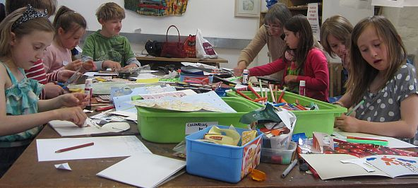 A children's art workshop taking place at New Brewery Arts.