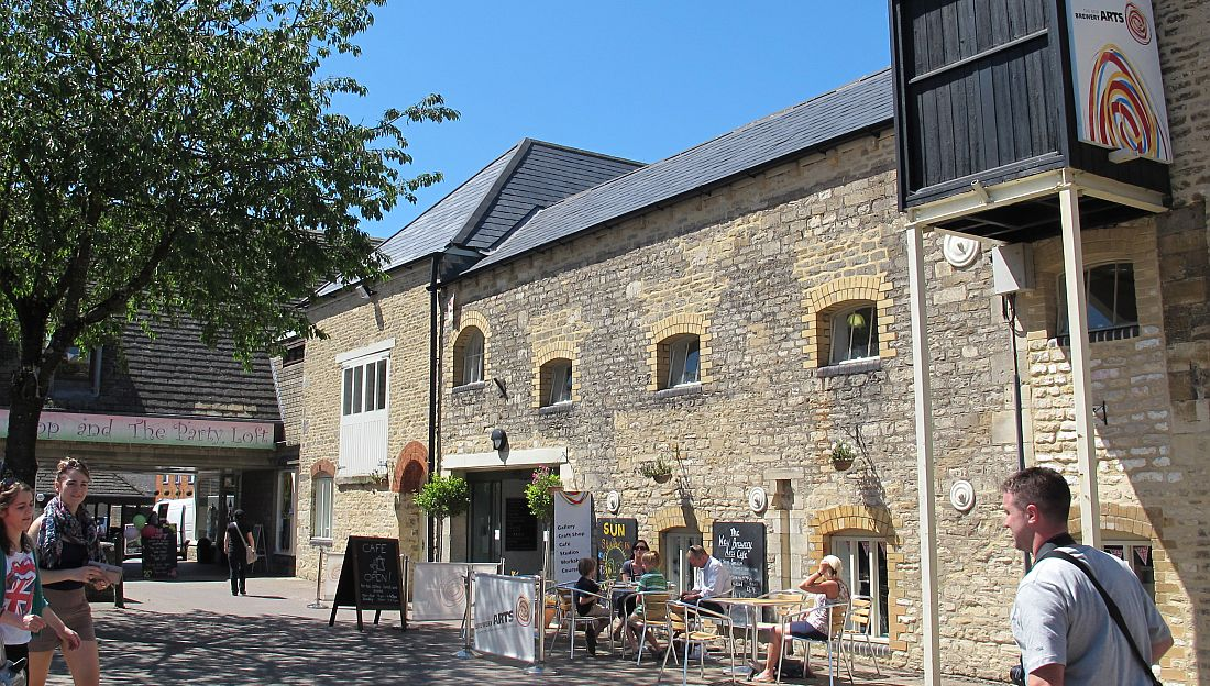 The outside of the former Victorian brewery building in Cirencester which is now the home of New Brewery Arts.