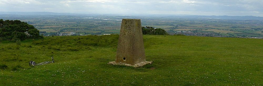 The panoramic view from the top of Cleeve Hill, the highest point of the Cotswolds.