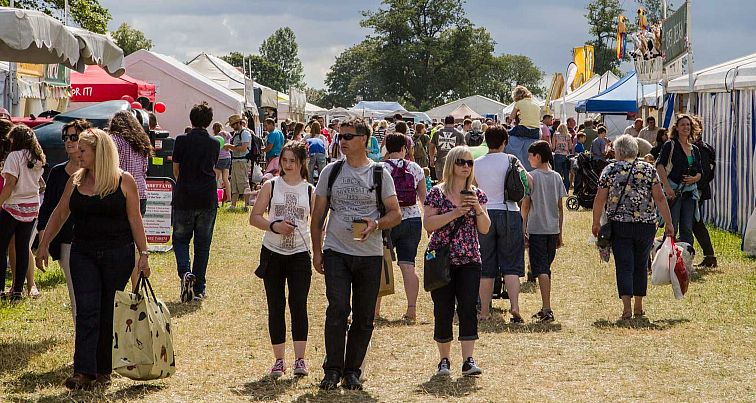 Crowds enjoying the wide range of stalls and attractions at the Cotswold Show.