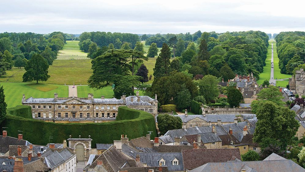 A view of Cirencester Park mansion and estate with its famous yew tree hedge. Picture © May Media