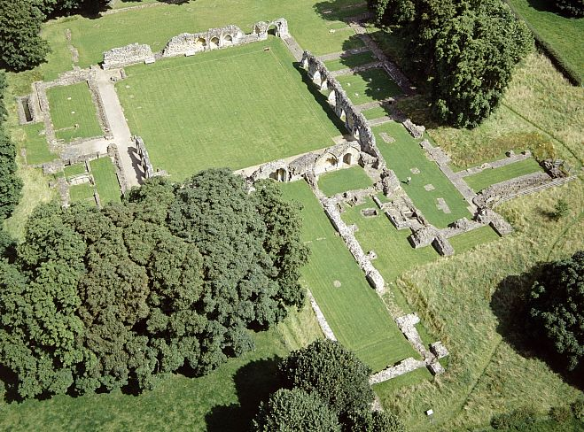 The remains of Hailes Abbey, as seen from the air. Picture courtesy English Heritage
