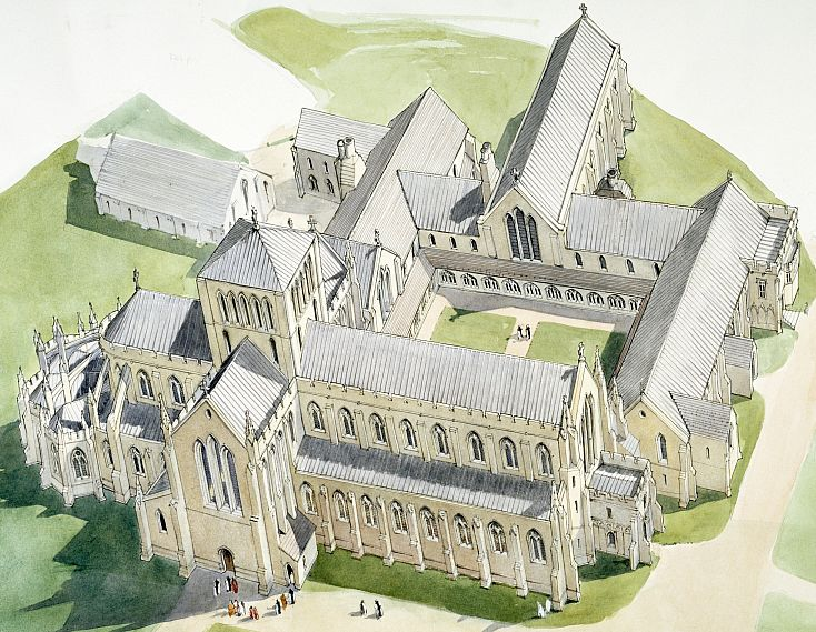 An artist's reconstruction of Hailes Abbey. Drawing by Terry Ball, courtesy of English Heritage