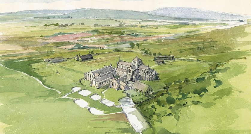 An aerial reconstruction of Hailes Abbey. Drawing by Terry Ball, courtesy of English Heritage