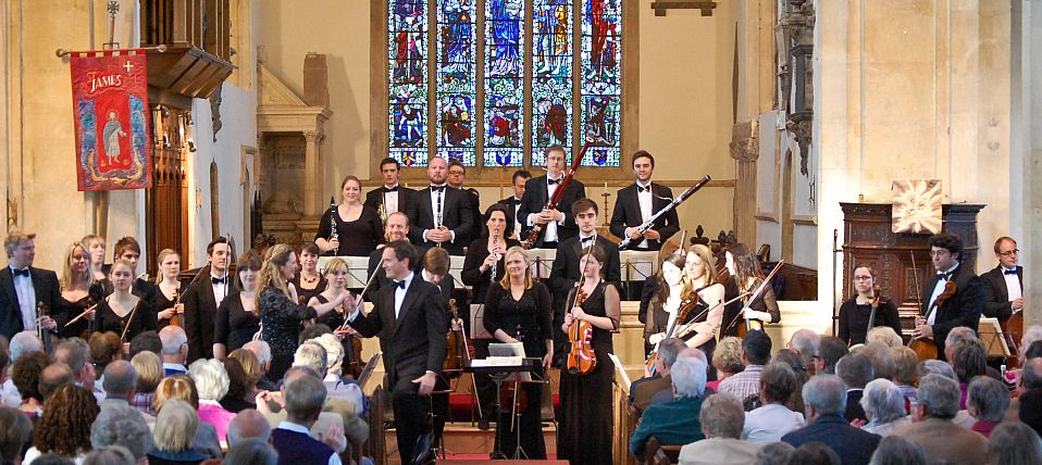 Chipping Campden Music Festival takes place each May in the magnificent setting of St James's Church. This picture shows conductor Tom Hull and orchestra leader Ruth Rogers with the Festival Academy orchestra.