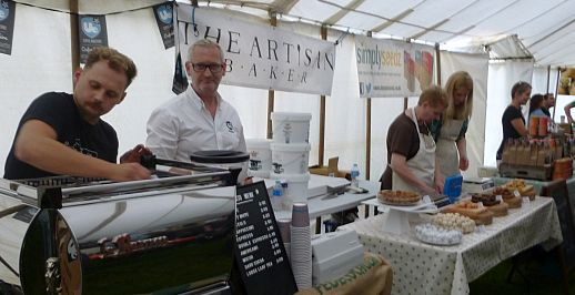 Food producers in the main marquee at the first Broadway Food Festival, held in September 2014.