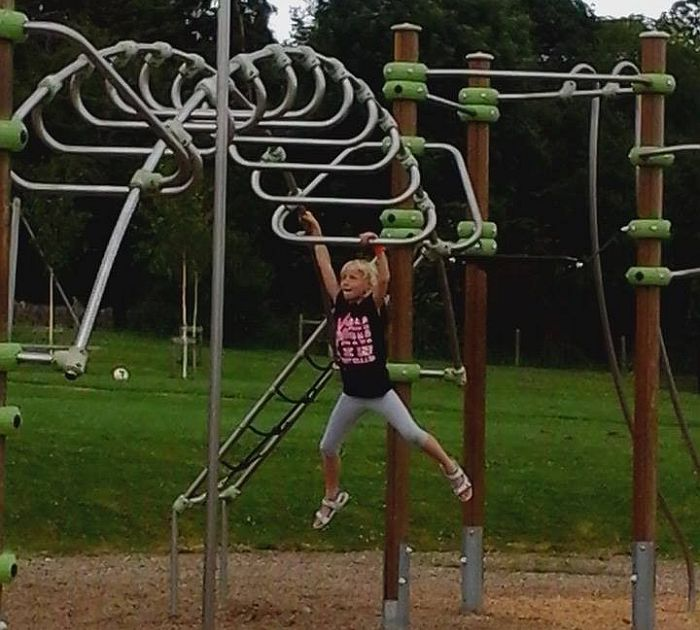 This young lady travelled with her family from Worcester to enjoy the great variety of play equipment at Broadway Activity Park...