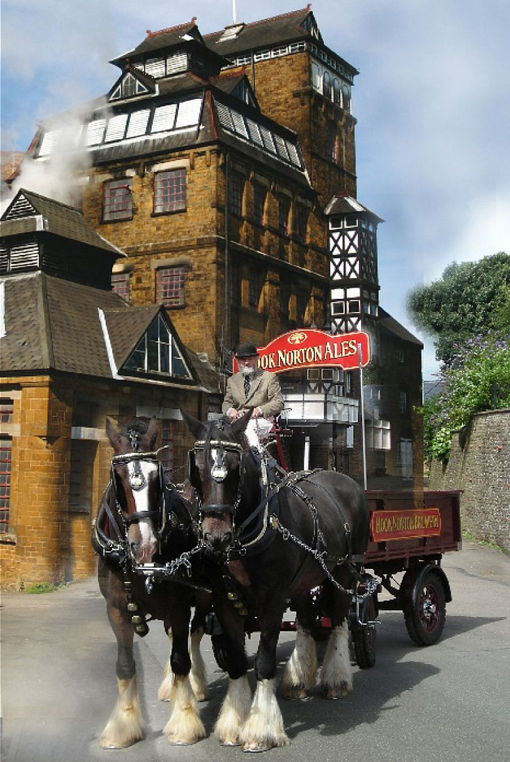 Hook Norton Brewery has a rich history and each week its team of magnificent working shire horses are harnassed to pull its loaded dray to make deliveries around the local area.