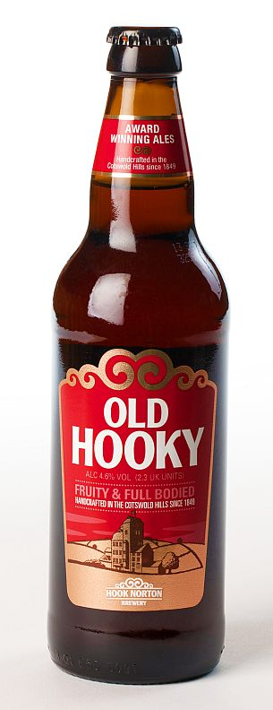A bottle of Old Hooky, one of Hook Norton Brewery's most famous ales.