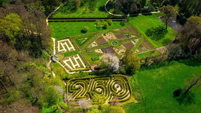 An aerial view of Painswick Rococo Garden. Picture by Rogue State Media.
