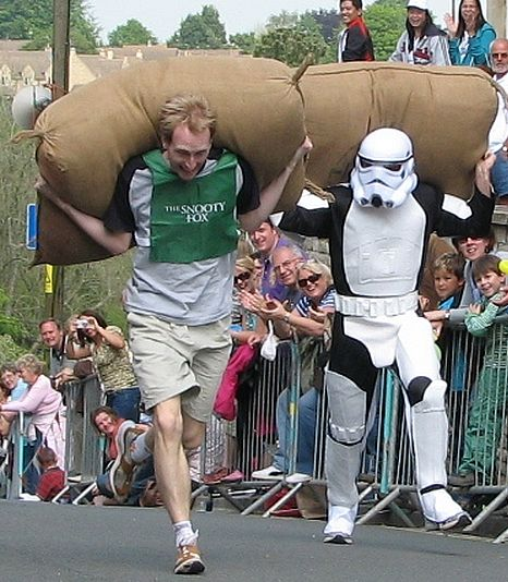 A different kind of sack race takes place in Tetbury each year.