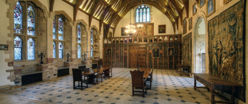 The Great Hall of Berkeley Castle, which is the oldest castle to have been continually occupied by the same family, the Berkeleys.
