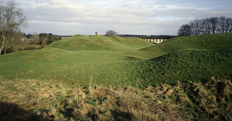 What remains of Cirencester Roman Amphitheatre today. Picture © English Heritage