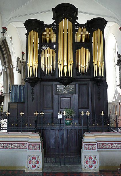 The organ of St Mary the Virgin, Wotton-under-Edge, which was reputedly first played by George Frederic Handel.