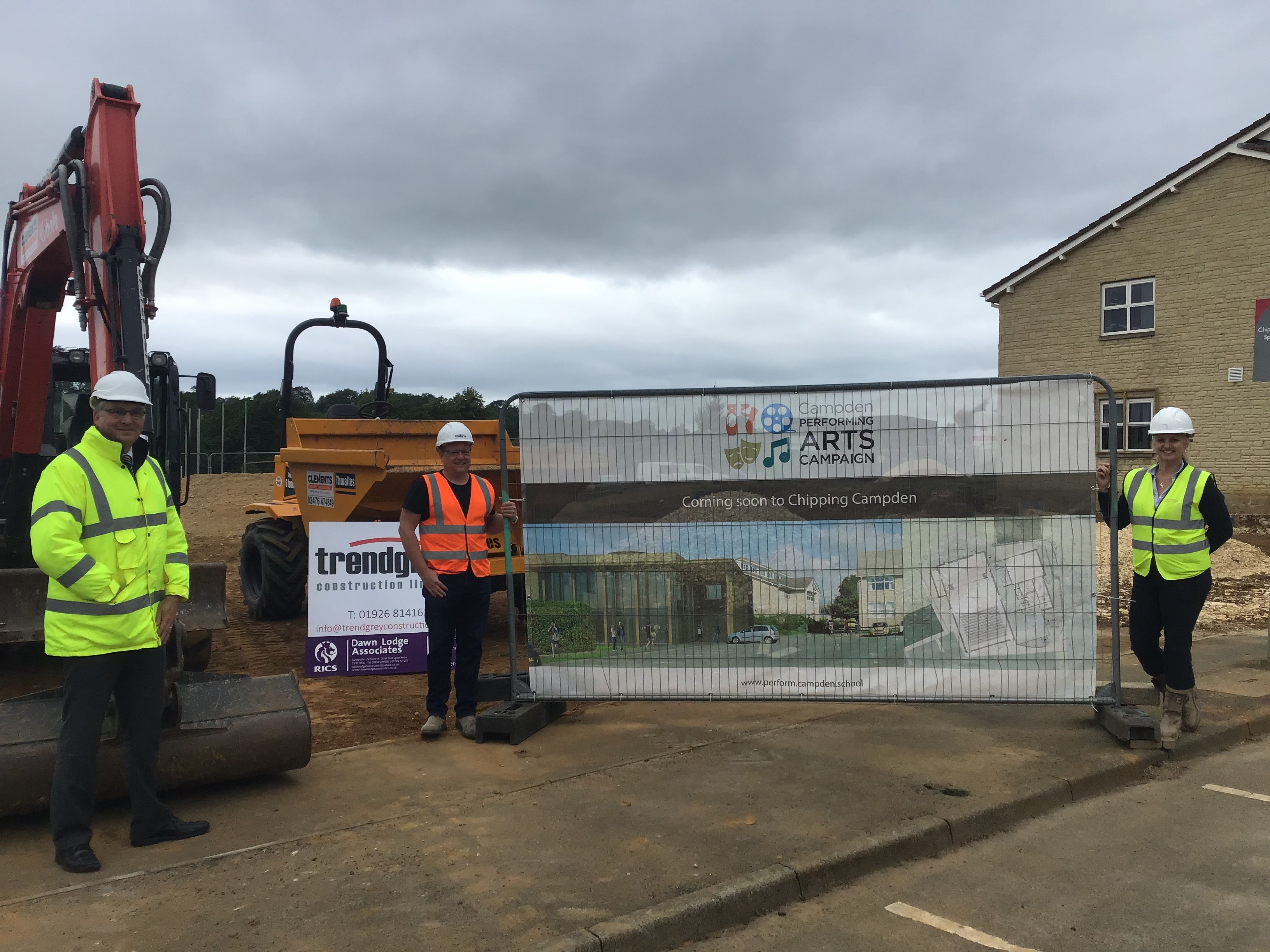 At the construction site for the Performing Arts Centre are, from left to right, John Sanderson, Principal Chipping Campden School, Nick Henderson from Trendgrey Construction and Dawn Lodge from Dawn Lodge Associates.