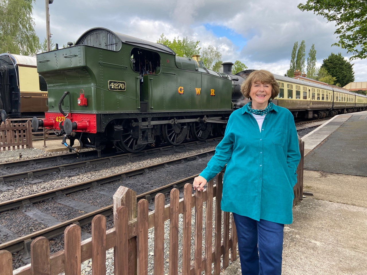 Pam Ayres at the Gloucestershire Warwickshire Steam Railway