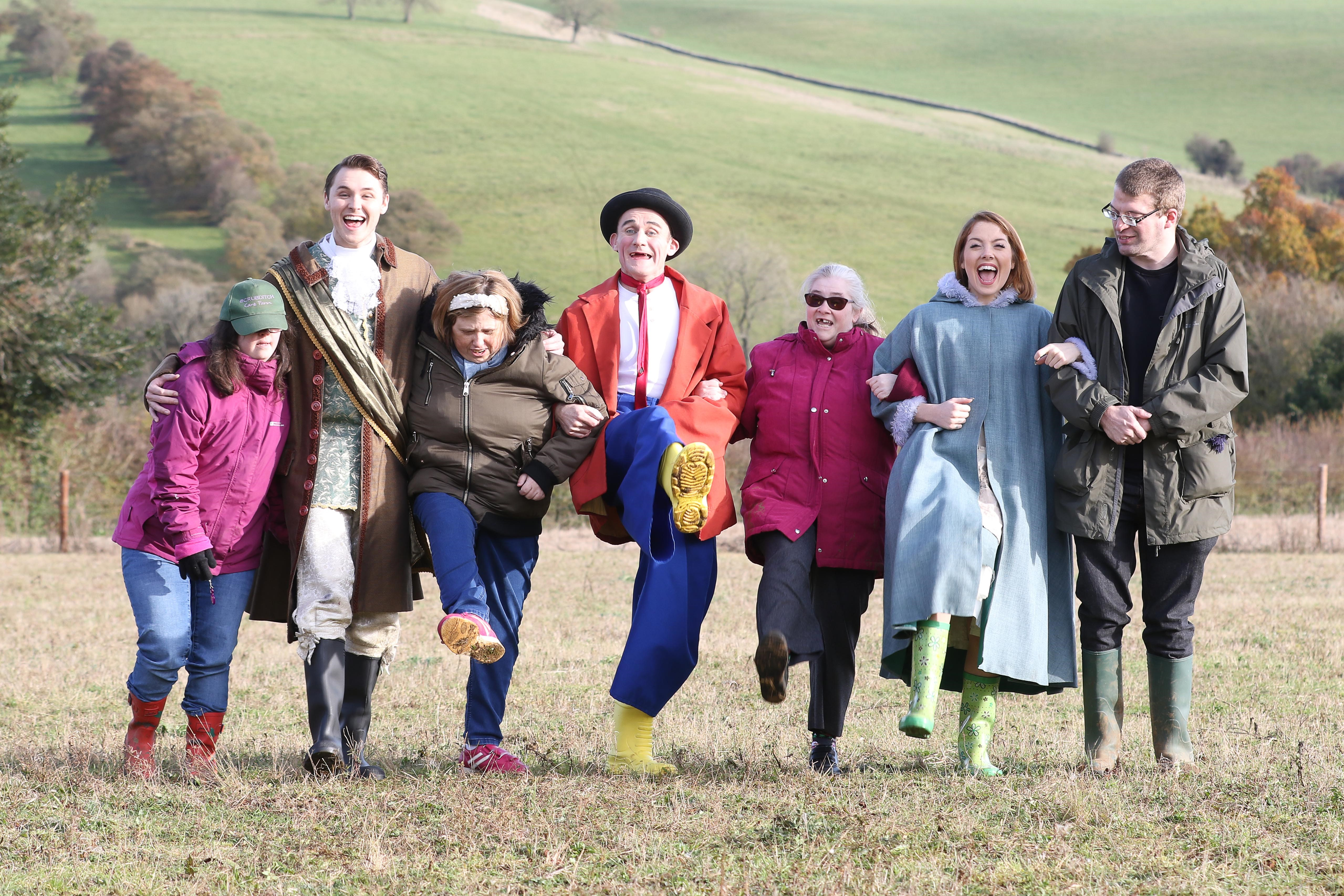 Tweedy (centre) is joined by fellow panto stars on a visit to Scrubditch Care Farm. Picture by Thousand Word Media