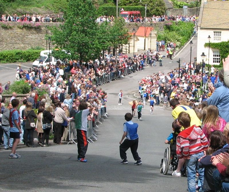 Competitors in the Tetbury Woolsack Races have to negotiate the unforgiving Gumstool Hill.