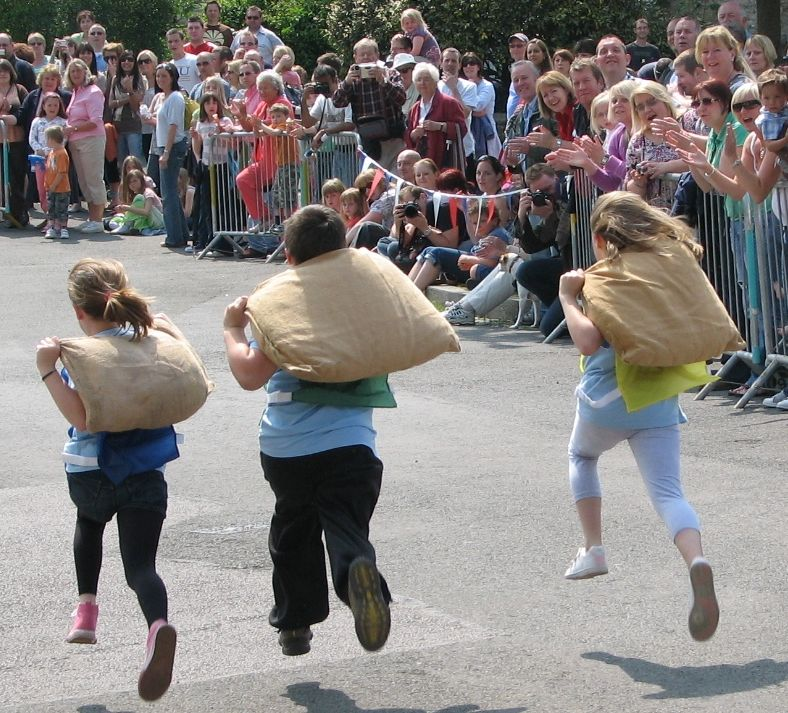 Youngsters also enjoy taking part in the Tetbury Woolsack Races.